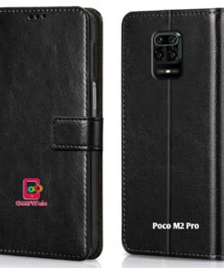 Poco M2 Pro Premium Leather Finish Flip Cover
