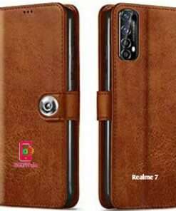 Realme 7 Premium Leather Finish Flip Cover