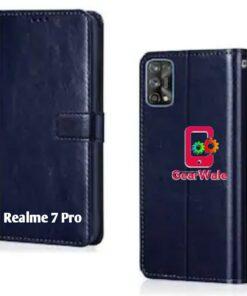 Realme 7 Pro Premium Leather Finish Flip Cover