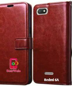 Redmi 6A Premium Leather Finish Flip Cover