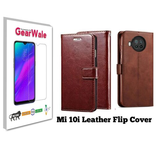 Mi 10i Premium Leather Finish Flip Cover